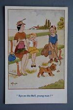 R&L Postcard: Comic, Photochrom, Basic Golf Kid, Eye on the Ball, Knitting Lady