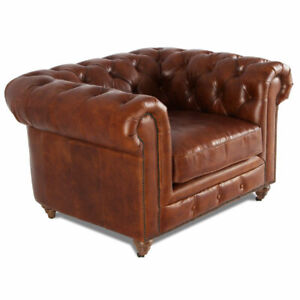 MarquessLife Antique Aged Leather Tufted 100% Genuine Couch Luxury Single Sofa