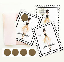 Set of 4 Hello Beautiful Scratch Off Cards Pop The Question Bridal Shower Cards