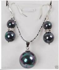 Pearl Pendant Necklace Earring Jewelry Set New Fashion Women Rainbow Black Shell