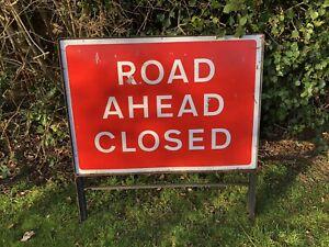 ROAD AHEAD CLOSED SIGN ROADWORKS SIGN