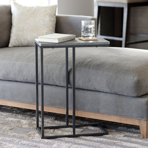 Modern Style End Table With Faux Gray Stone Top