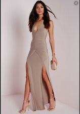 Missguided evening slinky halterneck ruched maxi dress taupe size 8