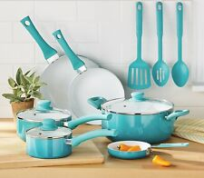 Ceramic Nonstick Cookware Set 12 Pieces Kitchen Pans/ Utensils Teal Ombre New