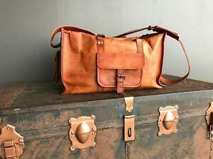 """24"""" Large Brown Leather handmade travel luggage vintage weekend duffel Gym Bag"""