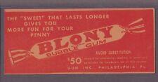 """1940 Gum, Inc. """"BLONY"""" Bubble Gum SUPERMAN COUPON For Free Piece of Gum"""