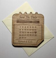 7cm Personalised Wooden Save The Date Calendar Magnet Wedding Invitation Oak