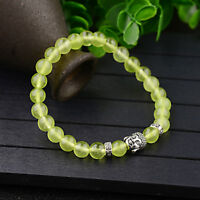 Men Womens Natural Green Gemstone Beads Buddha Head Beaded Handmade Bracelets