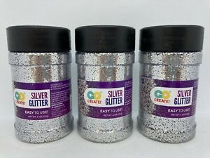 Lot of 3 Horizon Group Go Create Glitter Shakers 4 oz Each ~ Silver