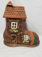 Vintage Boot Cookie Jar Old Woman In Shoe 874 USA Ceramic Hand-painted Pre-Owned