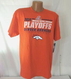 Majestic Denver Bronkos 2014 AFC Playoffs Mens Orange Tshirt Med Lrg XL