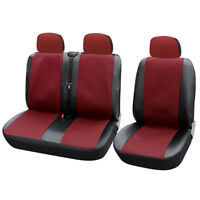 1+2 Car Seat Cover for Transporter/Van Universal with Artificial Leather Red