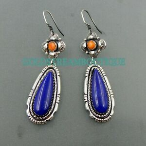 Lovely handcrafted sterling high quality Lapis and Spiny Oyster hanging earring