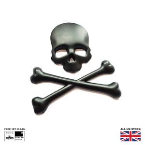 Black Metal 3D Skull and Crossbones Skeleton Car Boot Badge Sticker Decal