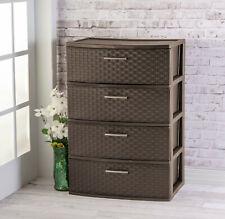 4-DRAWER DRESSER CHEST, Plastic Storage Organizer Cabinet, Wide Weave Espresso