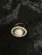 SILVER LEGENDS Cocktail Bling Ring-Disco Ball in Jeweled Halo-Silver Size 7.5