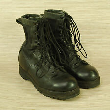 Wellco Black Leather Combat Boots Women's Size 7 W Military Vibram Sole Shoes