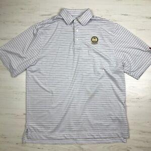 FootJoy Mens Golf Polo Shirt White Striped S/S PGA Titleist Size Large