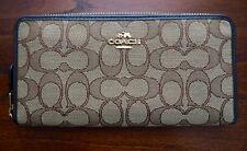 NEW COACH Women's Signature Accordian Zip Around Wallet Khaki Brown F53602 $195