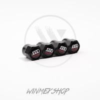 Set of 4 Audi Black Air Valve Dust Caps Car Wheel Tyre Caps