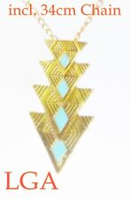 Gold pl pendant with 34cm chain with turquoise enamel inlays