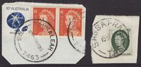 Tasmania 2 x postmarks on piece with T perfins