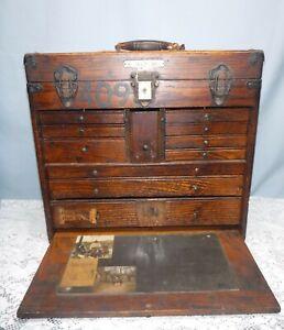 Vintage Oak Gerstner ? Machinist Tool Box Chest 11 Drawers