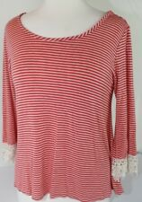 Yoho 5 Women's Tunic Top Blouse Top Button Back Pink Striped Lace Cuffs Size Med