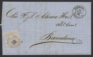 Espagne: Pli de 1873 avec timbre 12 C de Ptas gris Oblt Los de points +petit CàD
