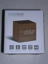 NIB GINGKO * Teak * Click Clock Cube 2.5 x 2.5 Time Day Temp Alarm