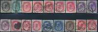 Canada #74/88 used F/XF 1898-1902 Queen Victoria Numeral lots of cancels