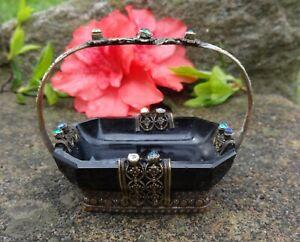 Jet Black Glass Open Salt Dip, Cellar, Dish in Jeweled Brass Metal Holder!