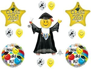 Class of 2021 Yellow Jumping Grad Graduation Party Balloons Decoration Supplies