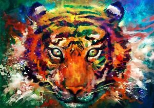 Colourful Abstract Tiger Painting Animal Wall Art Large Framed Canvas Picture