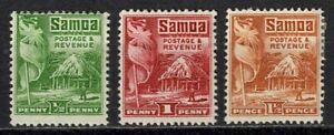 Samoa 1921 Sc#142/44 - British Flag & Samoan House Partial Set of 3 Mint MHR
