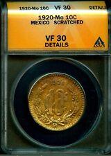 MEXICO 1920 MO 10 Centavos KM430 ANACS VF30