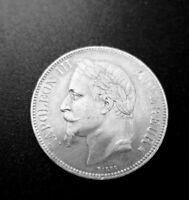 5 Francs Napoléon III tête laurée,Second Empire, Argent 1867 BB, KM 799.2