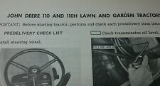 John Deere 110 Round Fender Predelivery Check List Garden Tractor Manual 40000