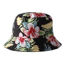 Women's Black Reversible Bucket Hat with Multi Colour Floral Print