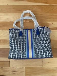 Tory Burch Womens Gemini Link Canvas Logo Tote Handbag Bondi Blue White