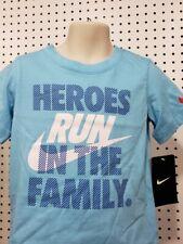 Boys Youth Kids Nike Tee short sleeve Shirt Blue Athletic Cut Size 4 Hero Family