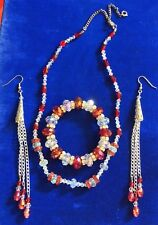"Red & White Crystal Beaded Rhinestone Necklace Bracelet and 5"" Long Earring Set"
