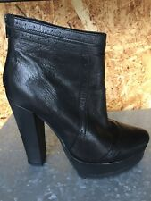 Ladies Women's FAITH Black Leather High Heel Ankle Boots 5 38 Zip Up Platform