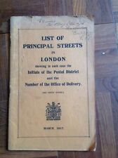 List of Principal Streets in London Postal District March 1917 Paperback Vintage