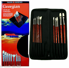 DALER ROWNEY GEORGIAN OIL BRUSH COLLECTION 10 BRUSHES WITH FREE CARRY CASE