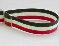 Vintage NOS watch 17.3mm nylon band 1960s red, green & white with silver buckle