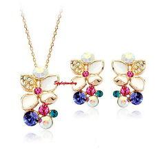 Multicolor Bridal Set Made with Swarovski Crystal Floral Flower Wedding Set XS30