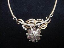 Vintage Gold Trifari Necklace with Lavender and Clear Rhinestones