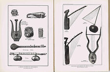 Primitive Musical Instruments, India & Africa - 1925 Music History Prints
