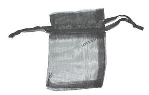 5 SMALL BLACK SATIN WEDDING FAVOUR ORGANZA GIFT POUCH BAG JEWELLERY - 50x75mm